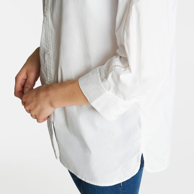Classic Fit Poplin Tunic Shirt,Bright White,large