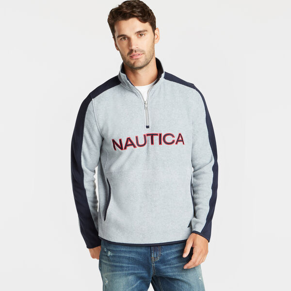 QUARTER ZIP LOGO NAUTEX FLEECE PULLOVER - Grey Heather