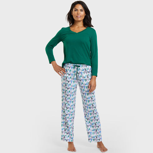 Icy Forest Pajama Set - Bright White