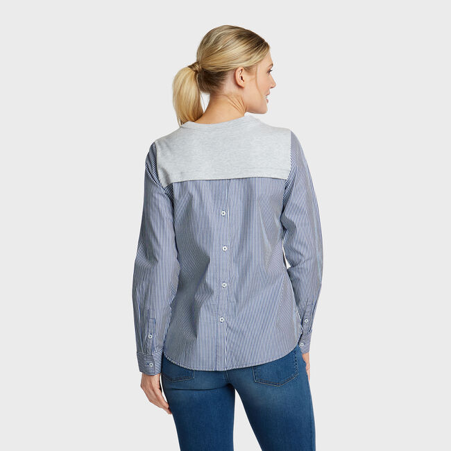 Long Sleeve Mixed Media Top,Pale Blue,large