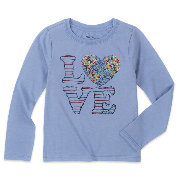 LITTLE GIRLS' GLITTER GRAPHIC LONG SLEEVE T-SHIRT (4-7) - Sky Blaze