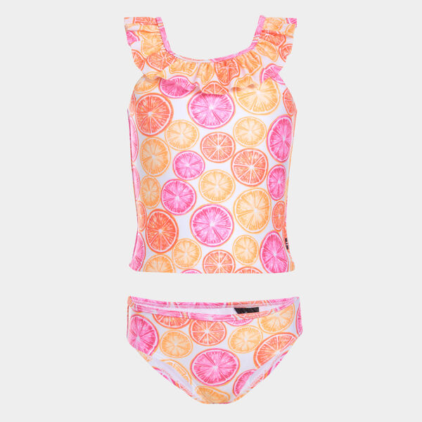 GIRLS' RUFFLED CITRUS PRINT TANKINI SWIMSUIT (8-20) - Vibrant Orange