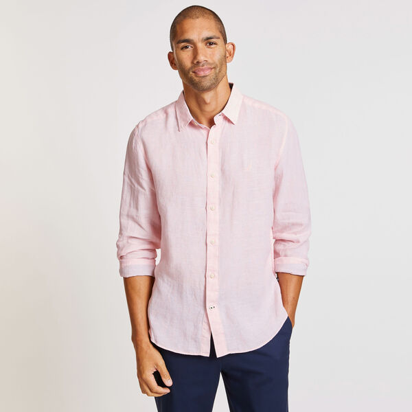 CLASSIC FIT SOLID FADED LINEN SHIRT - Peach Glow