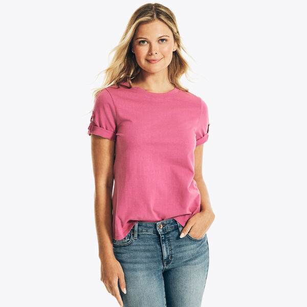 NAUTICA JEANS CO. SOLID TAB-SLEEVE TOP - Desert Rose