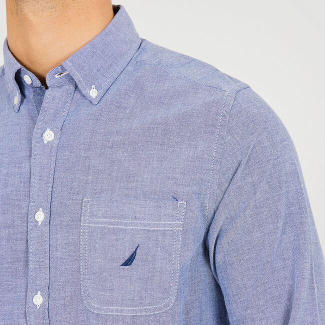 Long Sleeve Chambray Classic Fit Logo Button-Down Shirt,Monaco Blue,large