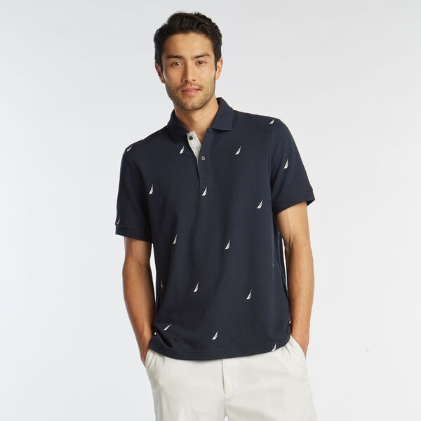CLASSIC FIT J-CLASS PRINT MESH POLO - Pure Dark Pacific Wash