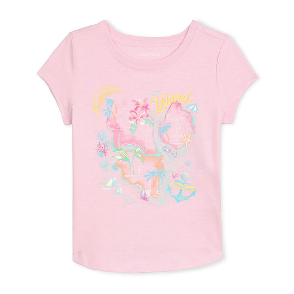 TODDLER GIRLS' JERSEY T-SHIRT IN ISLAND HOPPING GRAPHIC (2T-4T) - Light Pink