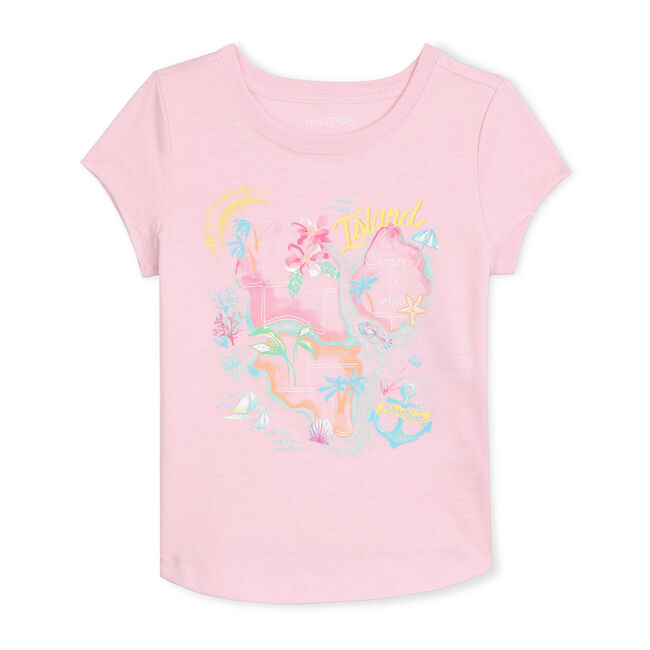 GIRLS' JERSEY T-SHIRT IN ISLAND HOPPING GRAPHIC,Light Pink,large