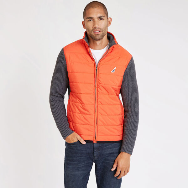 Mixed Media Mock-Neck Full-Zip Jacket - Orange Poppy