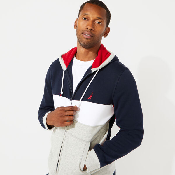 NAUTICA SAILING COLORBLOCKED HOODIE - Pure Dark Pacific Wash