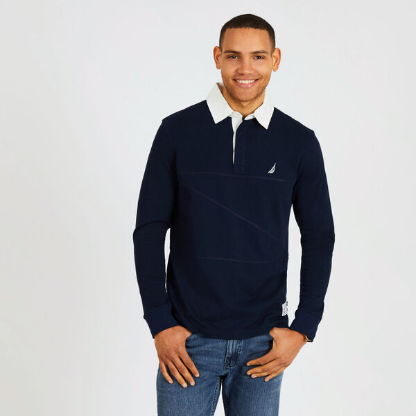 Long Sleeve Classic Fit Shipman Polo - Pure Dark Pacific Wash