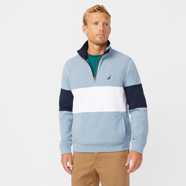 COLORBLOCK QUARTER-ZIP SWEATSHIRT - Anchor Blue Heather