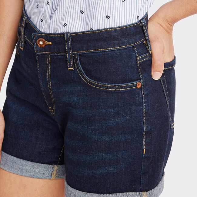 Classic Fit Cuff Denim Shorts in Pitch Blue,Pure Deep B,large