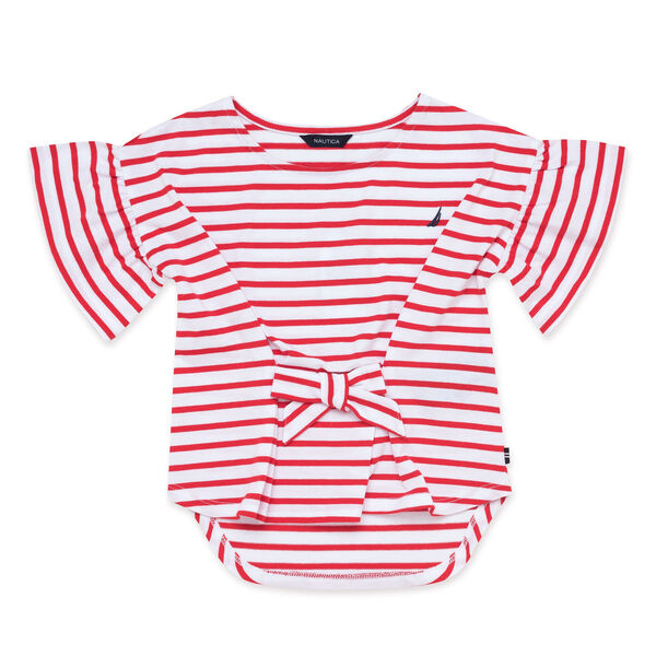 Little Girls' Tie Front Top in Breton Stripe (4-7) - Lobster Red