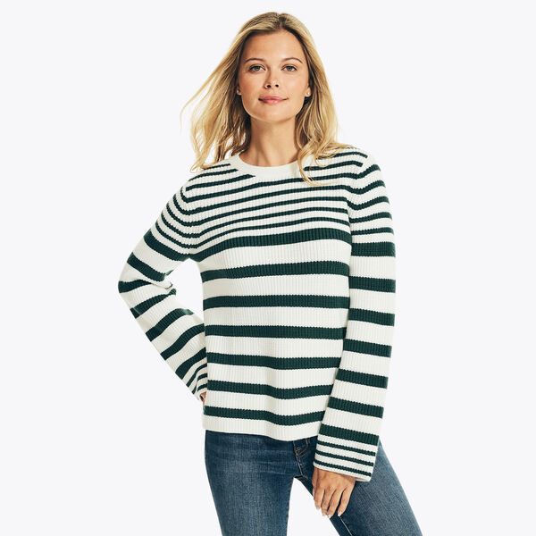 SUSTAINABLY CRAFTED STRIPED BELL SLEEVE SWEATER - Marshmallow