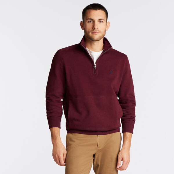 SUEDED FLEECE QUARTER ZIP PULLOVER - Royal Burgundy