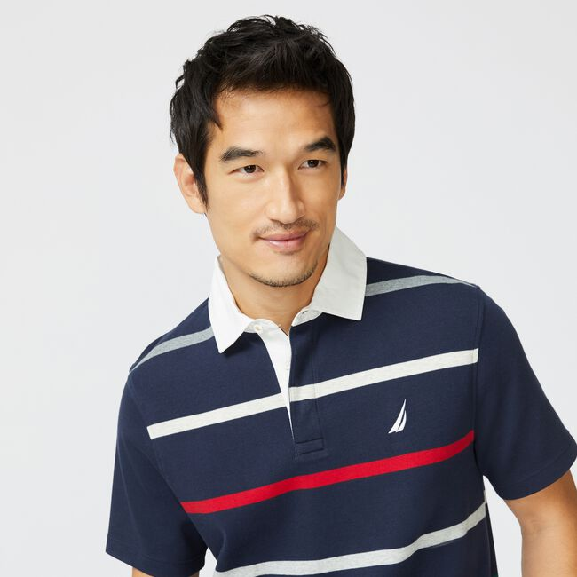 CLASSIC FIT STRIPED POLO,Navy,large