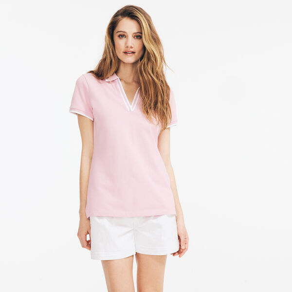 SUSTAINABLY CRAFTED CONTRAST-TRIM SPLIT-NECK POLO - Tulip Pink.