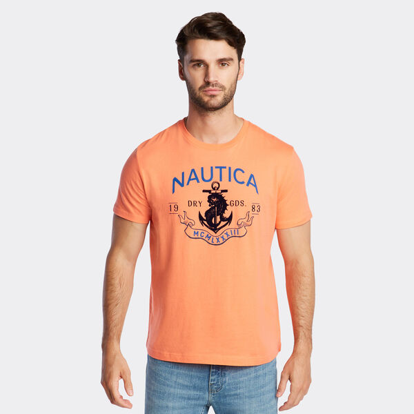 JERSEY T-SHIRT IN NAUTICAL GRAPHIC - Vibe Orange