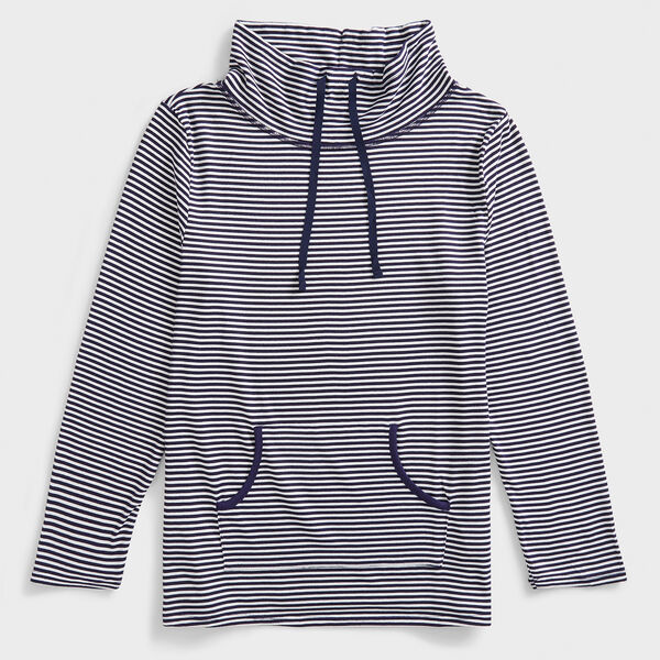 STRIPE COWL NECK LOUNGE TOP  - Windsurf Blue