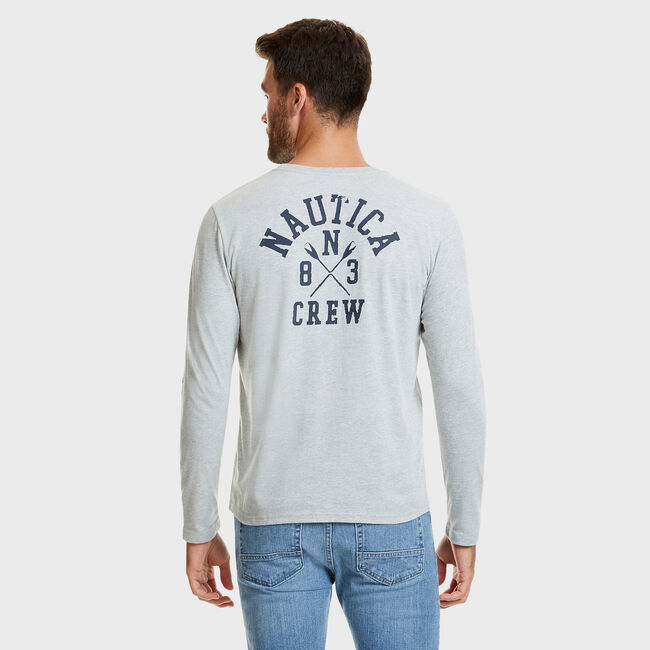 Nautica Crewneck Crossed Oars T-Shirt,Grey Heather,large