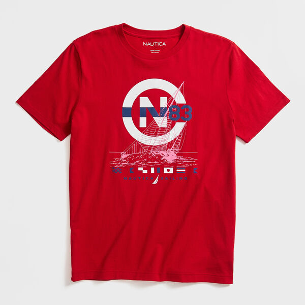 SAILBOAT SKETCH GRAPHIC T-SHIRT - Nautica Red