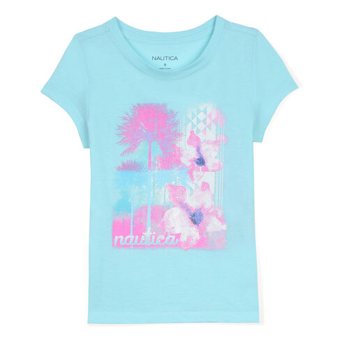 Little Girls' Floral & Palm Graphic Tee (4-7) - Sport Navy