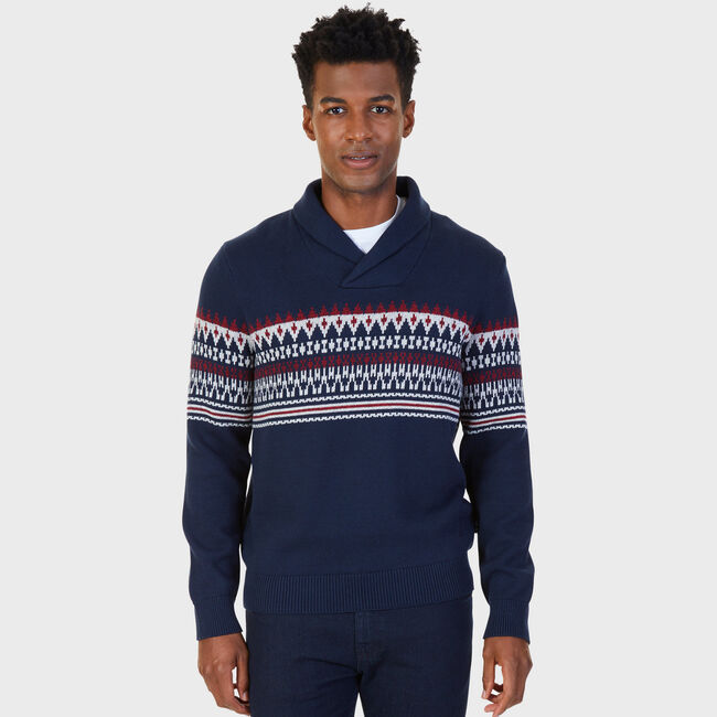 Fairisle Shawl Collar Sweater,True Navy,large
