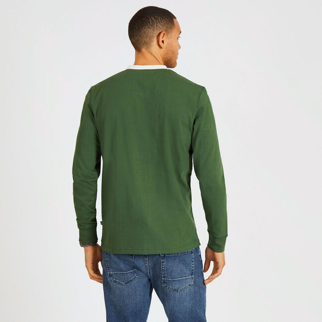 Long Sleeve Colorblock Henley,Pineforest,large