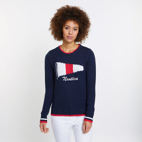 SIGNAL FLAG LOGO SWEATER - Deep Sea