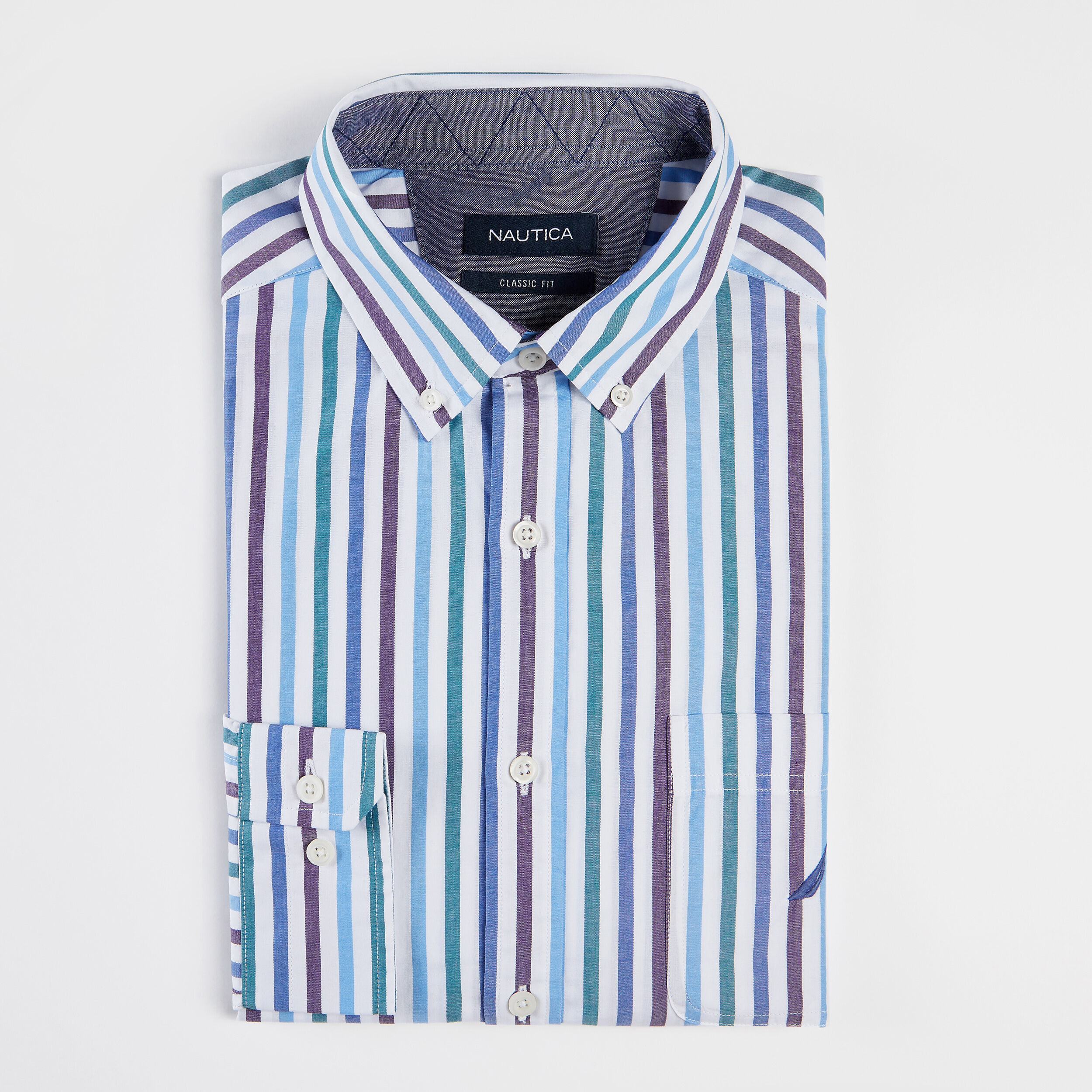 Nautica Men/'s Big and Tall Classic Fit Long Sleeve Multicolor Button Down Shirt