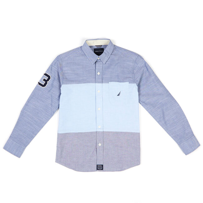 Toddler Boys' Ponto Colorblock Chambray Button Down (2T-4T),Aquamarine,large