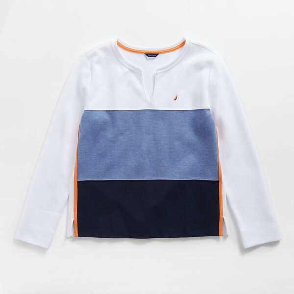 COLORBLOCK SPLIT NECK SWEATSHIRT - Bright White