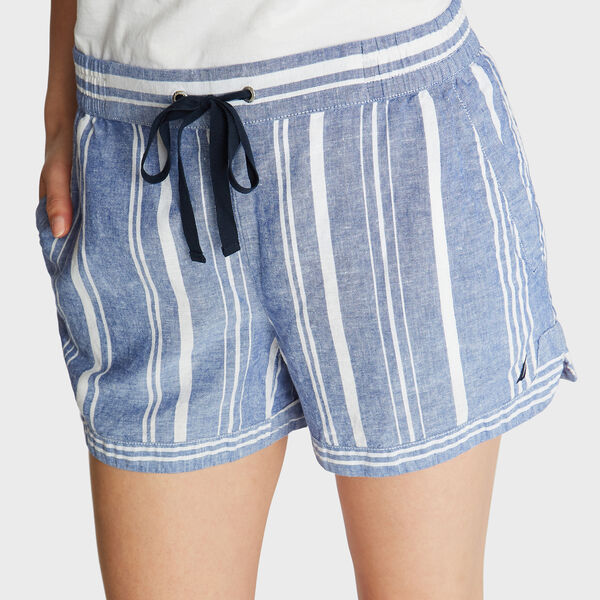 """4"""" LINEN SHORTS IN VARIEGATED STRIPE - Bayberry Blue"""