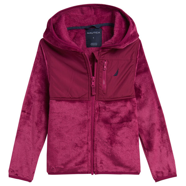 TODDLER GIRLS' FAUX-FUR NAUTEX HOODED JACKET (2T-4T) - Dusty Pink