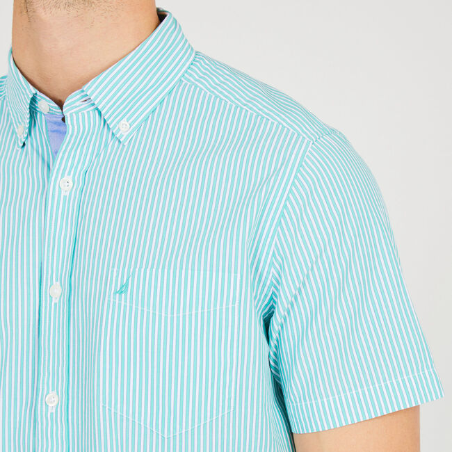 Classic Fit Stripe Short Sleeve Button Down,Mist Green,large
