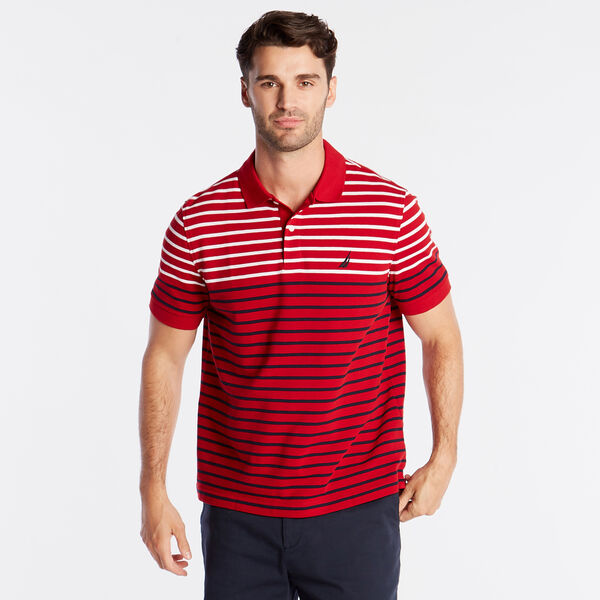 CLASSIC FIT PERFORMANCE POLO IN STRIPE - Nautica Red