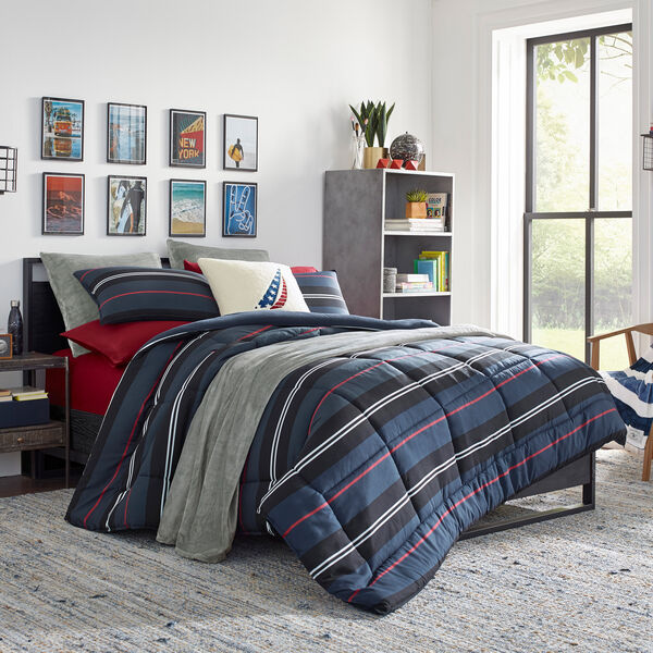 REVERSIBLE MULTICOLOR STRIPED KING COMFORTER-SHAM SET - Multi