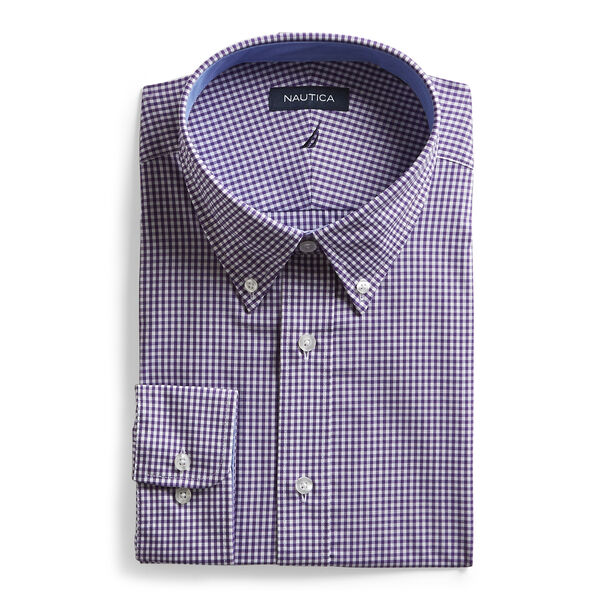 CLASSIC FIT COTTON SHIRT IN MEDIUM PURPLE CHECK - Raisin