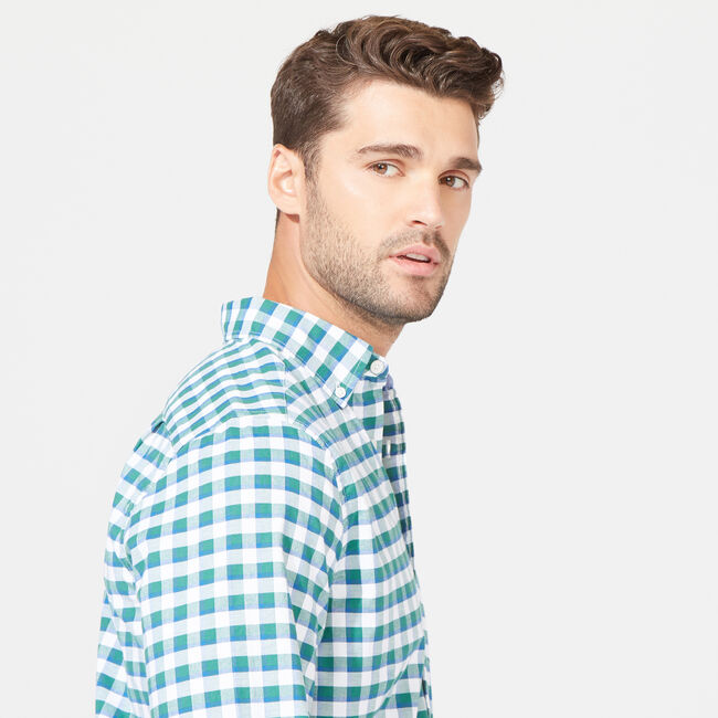 CLASSIC FIT STRETCH OXFORD IN PLAID,Spruce,large
