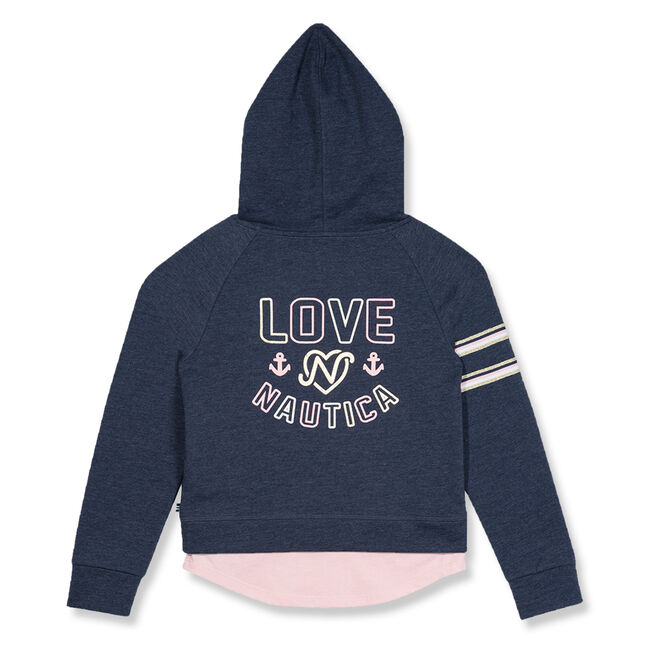 Little Girls' French Terry Graphic Hoodie (4-6X),Majolica,large