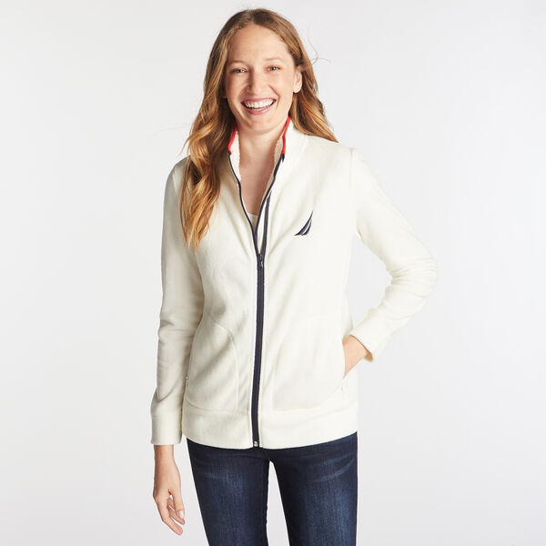 FULL ZIP NAUTEX FLEECE - Marshmallow