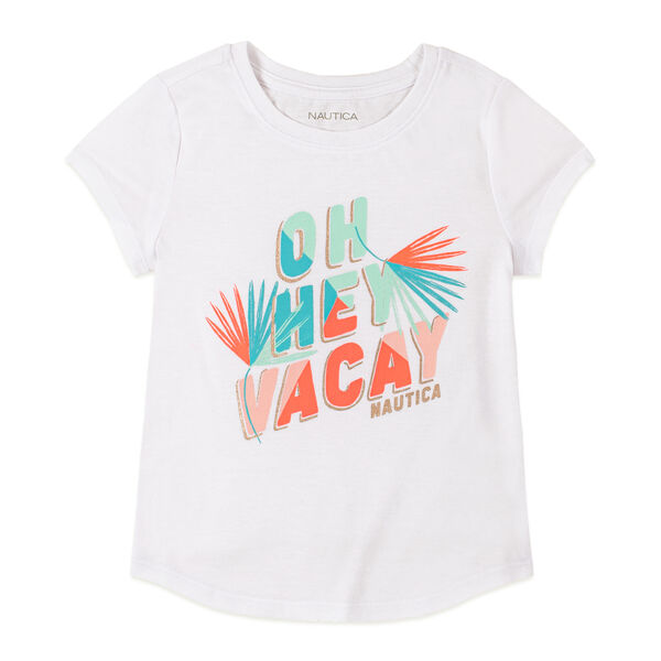 TODDLER GIRLS' OH HEY VACAY FOIL GRAPHIC T-SHIRT (2T-4T) - Antique White Wash