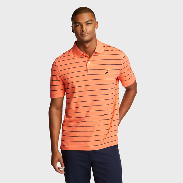 Classic Fit Mesh Polo in Breton Stripe - Livng Coral