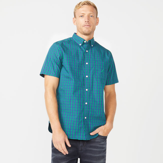 CLASSIC FIT SHORT SLEEVE SHIRT IN TWO TONE GINGHAM,Spruce,large
