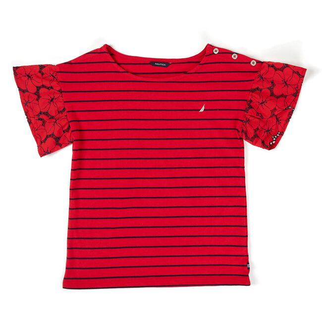 Toddler Girls' Flutter Sleeve Striped Top (2T-4T),Nautica Red/Orange,large