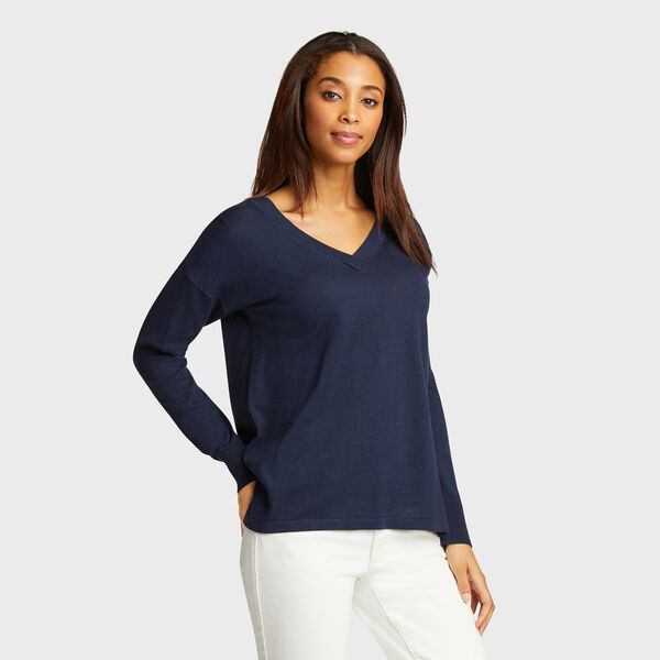 V-Neck Linen Blend Sweater - Deep Sea