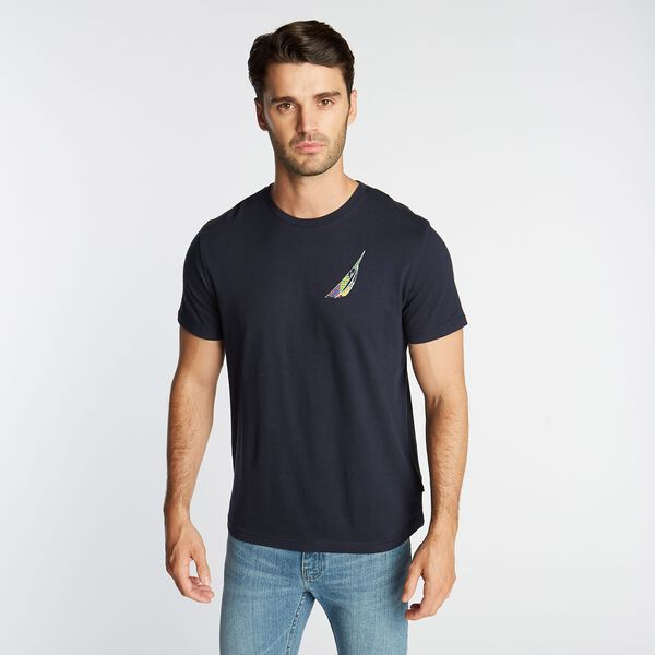 BIG & TALL MIXED PRINT GRAPHIC T-SHIRT - Navy