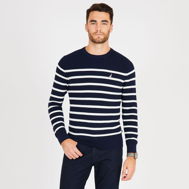 Navtech Breton Stripe Crewneck Sweater,Pure Dark Pacific Wash,large