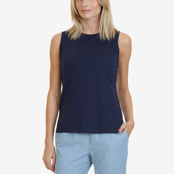 Sleeveless Top with Side Grommets - Stellar Blue Heather